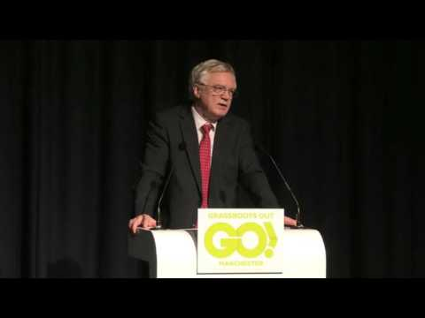 David Davis MP speaks at the Grassroots Out event in Manchester