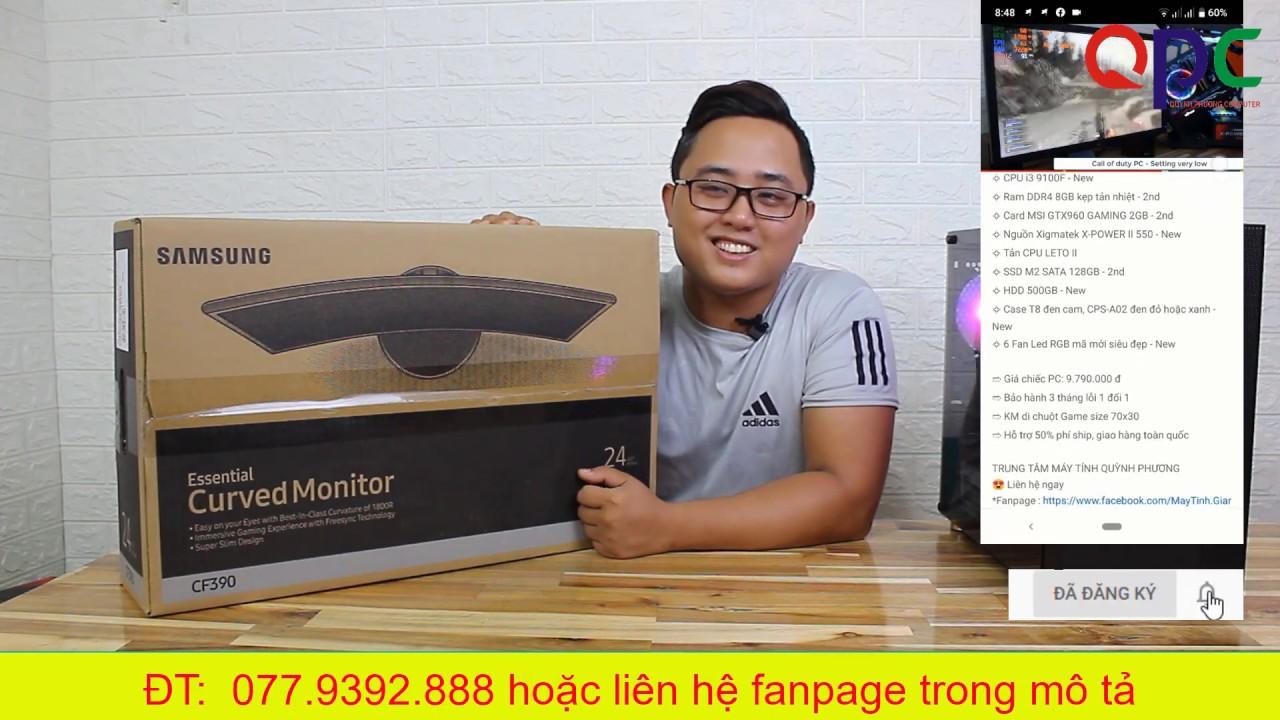 """Review  màn hình (VA 24"""" ) Samsung 24 inch CF390 Cong giá gần 3 triệu"""