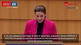 Intervento durante la Plenaria della parlamentare europea Alessandra Moretti sulla parità di genere.