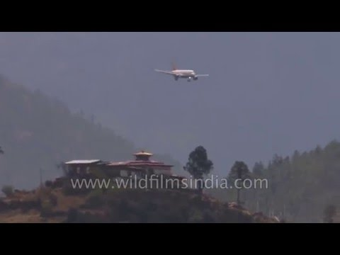 Toughest landing? Airbus A319 descends steeply to land at Paro, Bhutan
