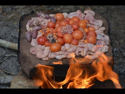 ARS Primitive Cooking Duck Eggs and Heart on a Rock - Survival Technique Cooking Duck Eggs and Heart