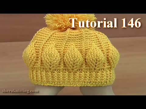 How to Crochet Beanie  Hat  With 3D Leaves  Tutorial 146