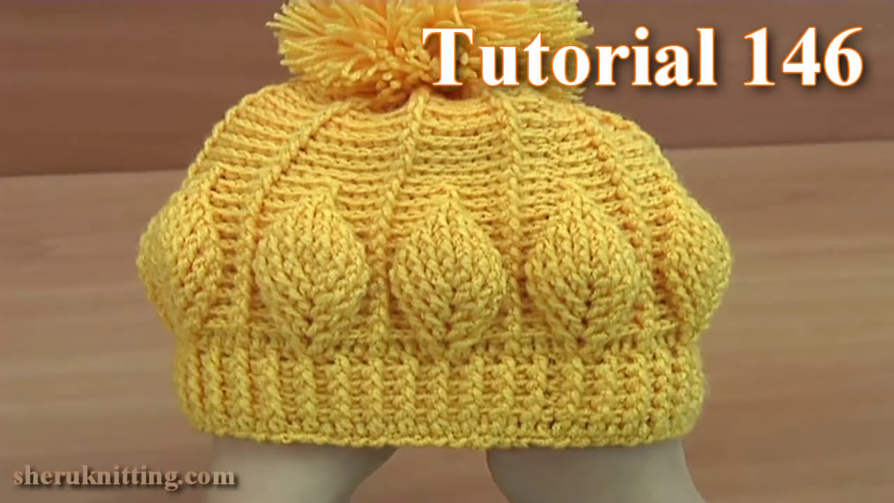 How to Crochet Beanie  Hat  With 3D Leaves  Tutorial