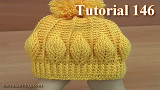 Repeat youtube video How to Crochet Beanie  Hat  With 3D Leaves  Tutorial 146