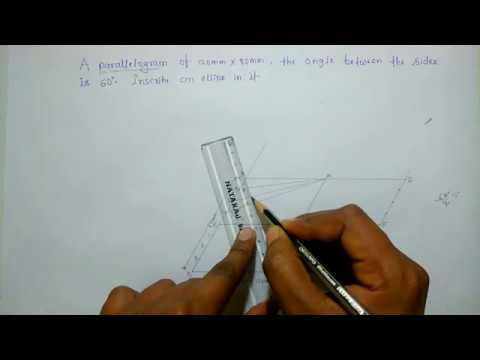 how to draw/construct a ellipse by parallelogram method[HINDI]