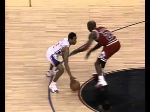 9be92b89dfee Allen Iverson Crosses up Michael Jordan in his rookie season - YouTube