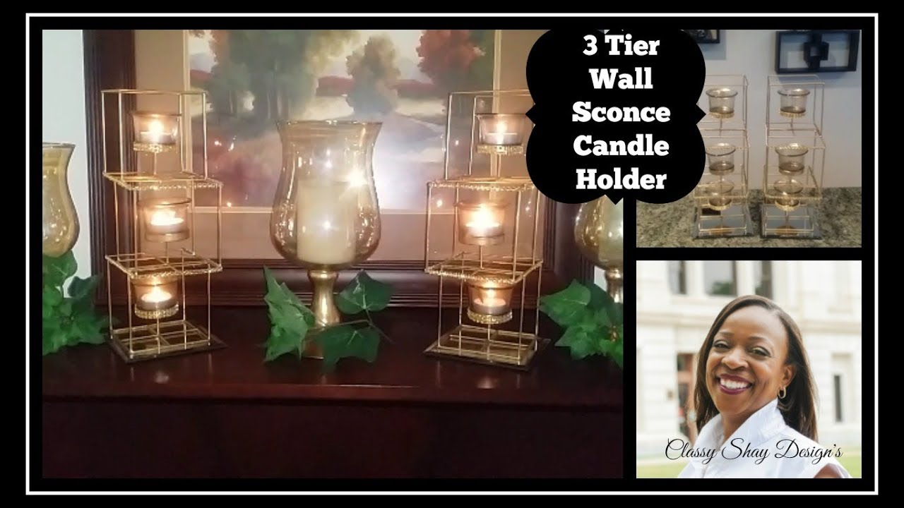 Diy dollar tree 3 tier candle wall sconce home decor youtube diy dollar tree 3 tier candle wall sconce home decor amipublicfo Image collections