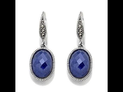 Sterling Silver Gemstone and Marcasite Earrings. http://bit.ly/2WYrQ5W