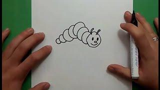 Como dibujar un gusano paso a paso    How to draw a worm