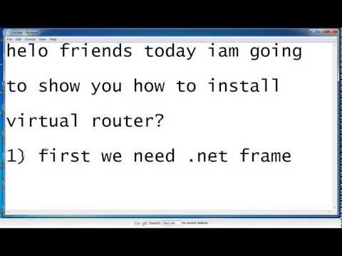 VIRTUAL ROUTER INSTALLATION- YOUTUBE - YouTube