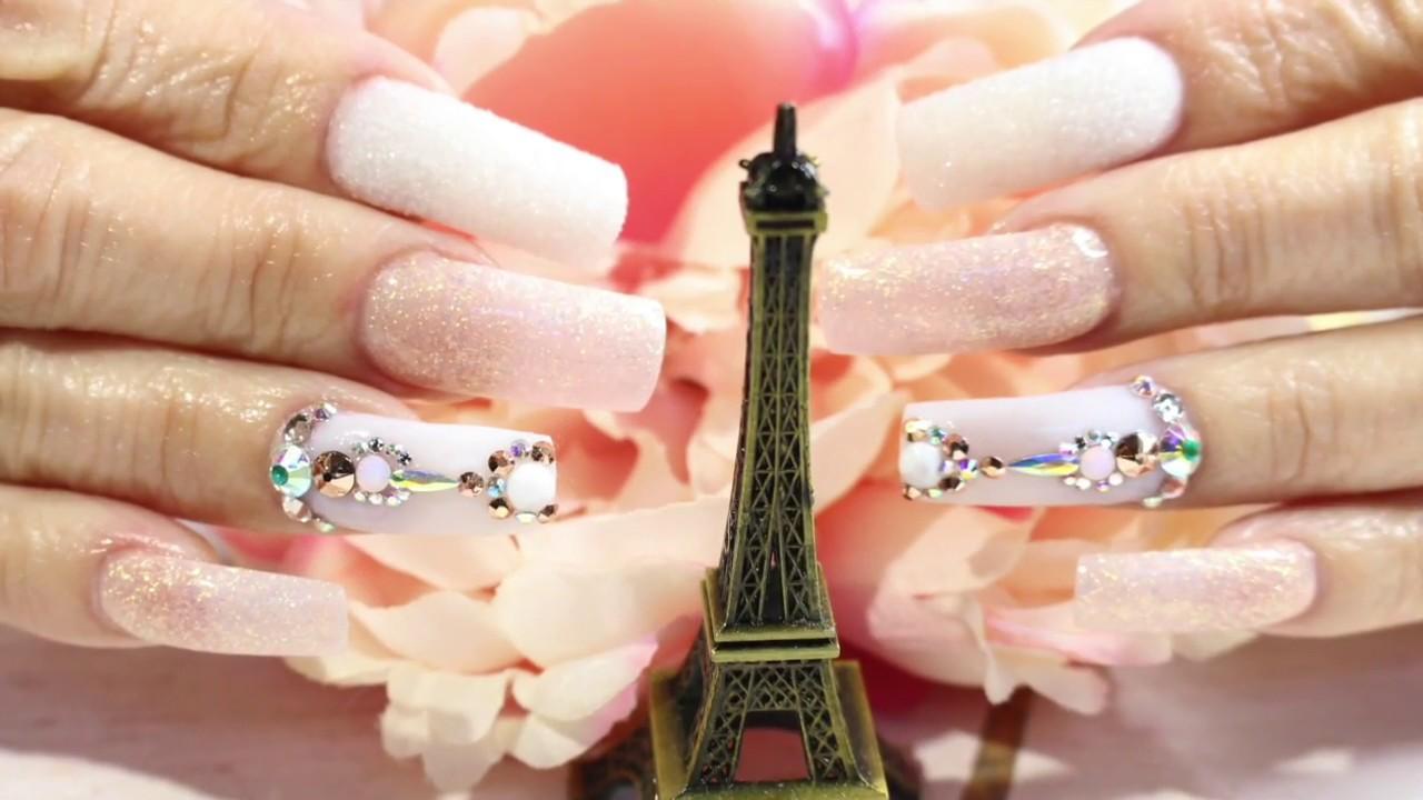 uas acrilicas elegantes y tiernasuas acrilicas rosa y blancouas efecto azucar