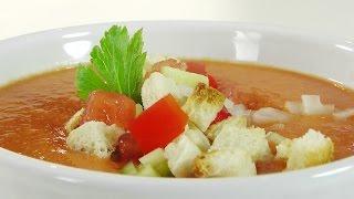Аппетитный суп из помидор видео рецепт(Ингредиенты: http://www.videocooking.ru/retsepty/pervoe/gaspacho.html Рецепт приготовления холодного супа из томатов Гаспачо., 2015-10-27T15:05:24.000Z)