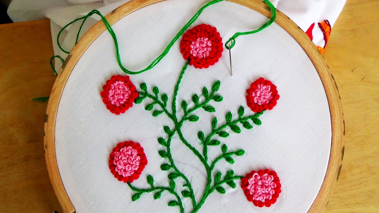 Hand Embroidery: French Knot Flowers Stitch (Plus Vines ...