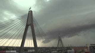 Stormy weather over the ANZAC bridge 15 March 2014