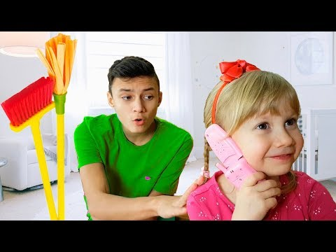 Alena and Pasha cleans the playhouse