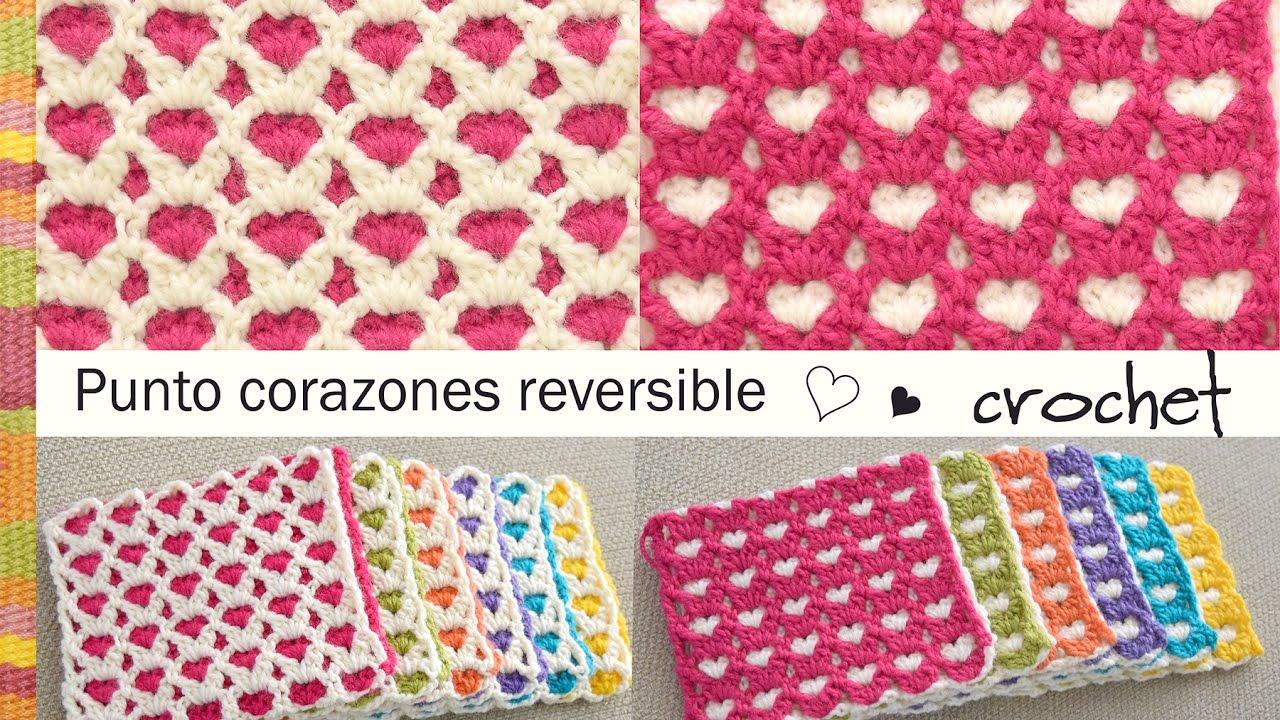 Punto corazones reversible o AMOR ETERNO 💗 tejido a crochet ...