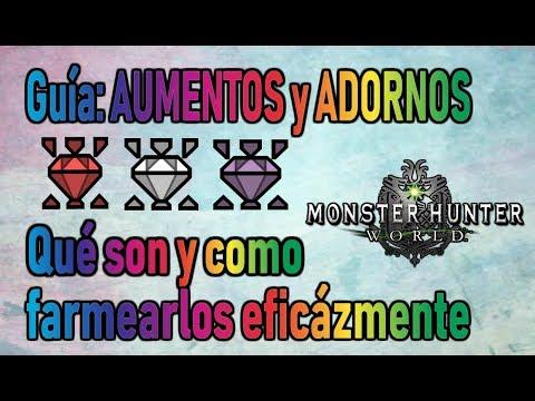 ADORNOS y AUMENTOS: ¿Qué son y como farmearlos? - Monster Hunter World (Gameplay Español) thumbnail