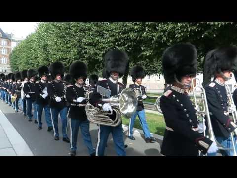 Danish Royal Life Guards (Den Kongelige Livgarde) Marching Parade, Copenhagen, Denmark