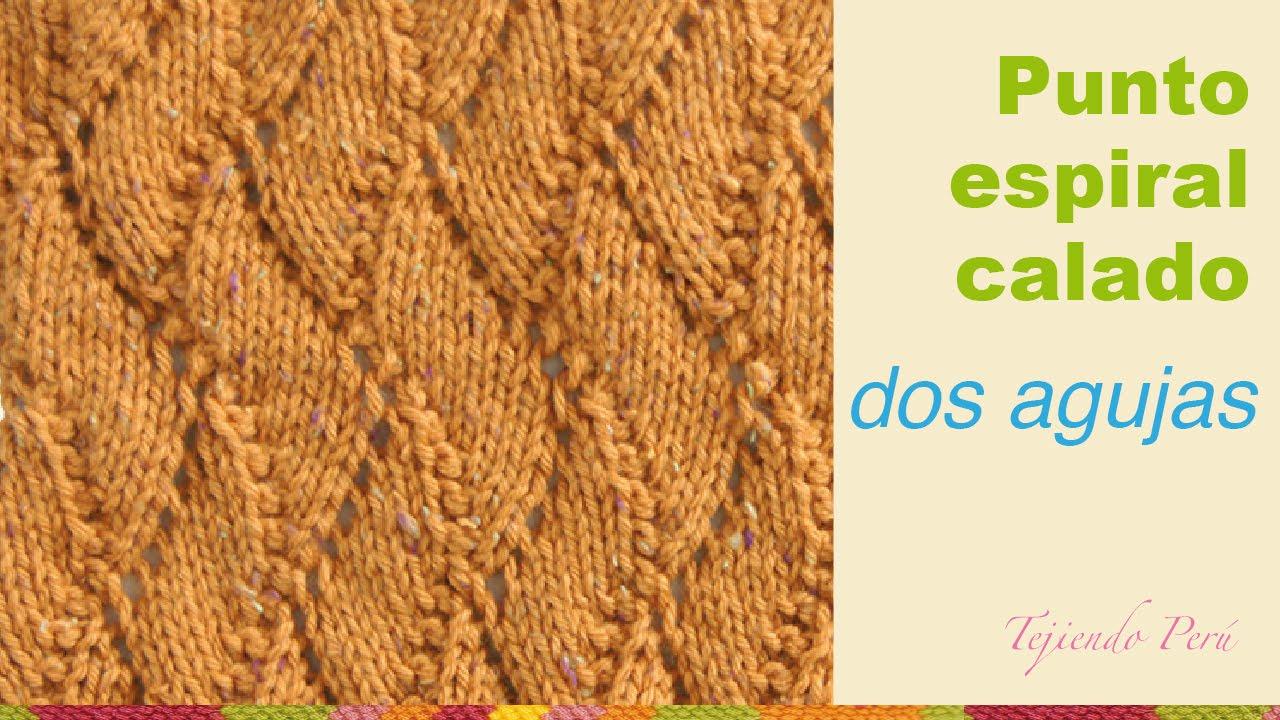 Punto espiral calado tejido en dos agujas o palitos - Puntos de dos colores a dos agujas ...