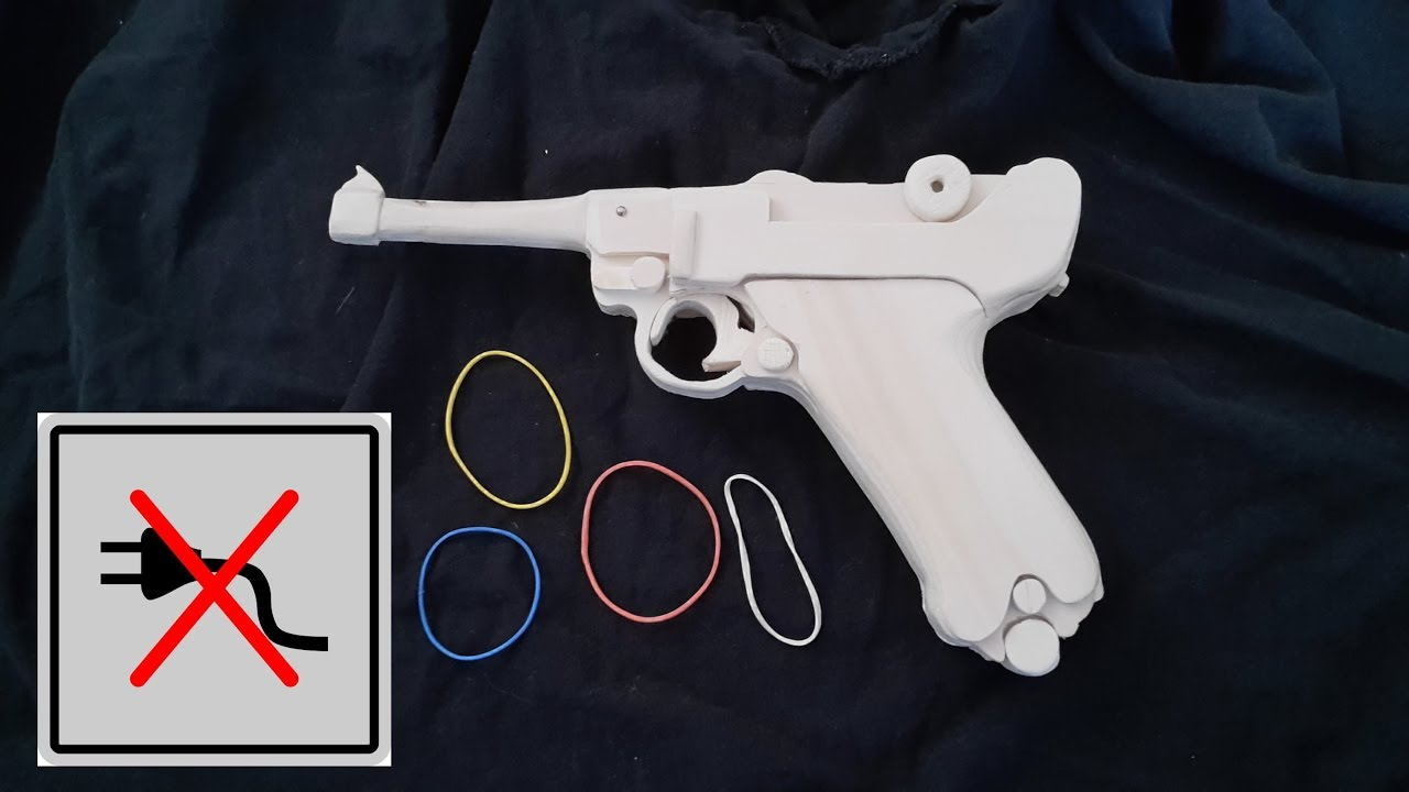 How to make a Luger P08 [Rubberband gun] without powertools!!- Free  templates