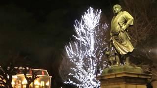 上野公園の西郷隆盛の銅像のわきのイルミネーションと、その下の京成上...