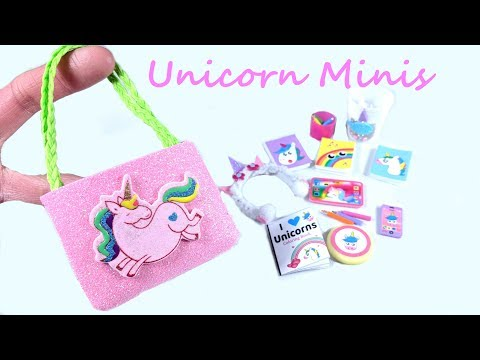 DIY Miniature Unicorn Miniatures - Tote bag, cell phone, colored pencils, etc