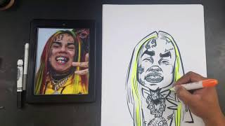 How To Draw a Caricature of Rapper 6ix9ine