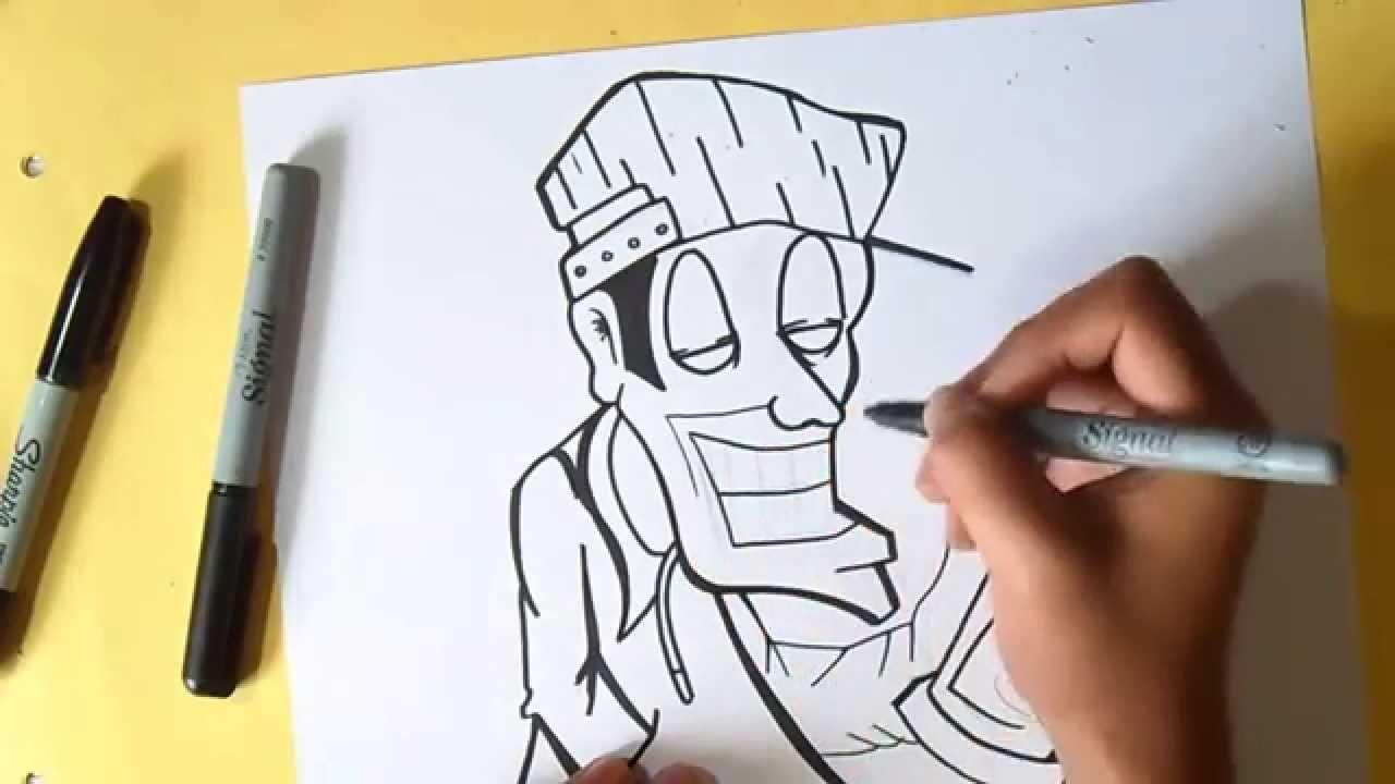 Как нарисовать персонаж   граффити - YouTube