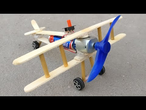 How to Make Aeroplane With DC Motor at Home - Wooden Plane
