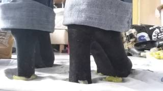 Crushing fruit with heels