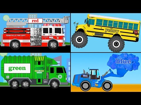 Learning Colors Collection Vol. 1 - Learn Colours Monster Trucks, Fire Engines, Garbage Trucks