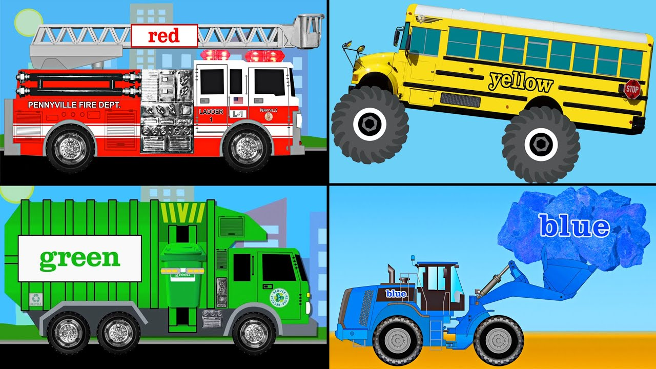 learning colors collection vol 1 learn colours monster trucks fire engines garbage trucks youtube