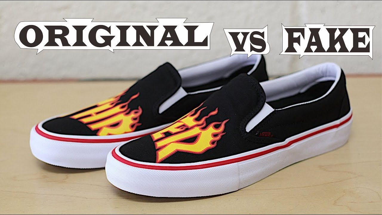 e5378eda4dd Vans X Thrasher Slip-On Pro Original   Fake - YouTube