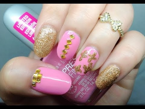 Pink Gold Crossstuds Nail Design For Oval Nails Youtube