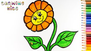 Drawing And Coloring Flower For Kids Smiley Cartoon Sunflower | Kids Rhymes Song