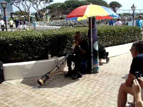 Seaport Village San Diego with Australian Aborigine Playing Long Horn