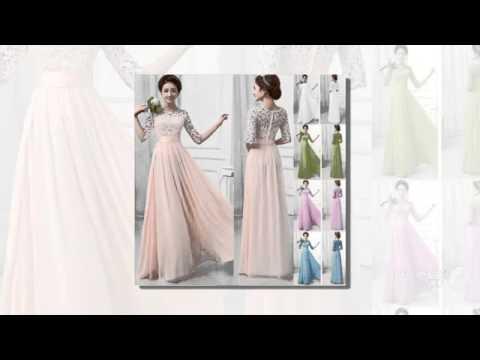 Новый розового кружева длинные платья выпускного вечера 2015 половины рукав совок v нек би