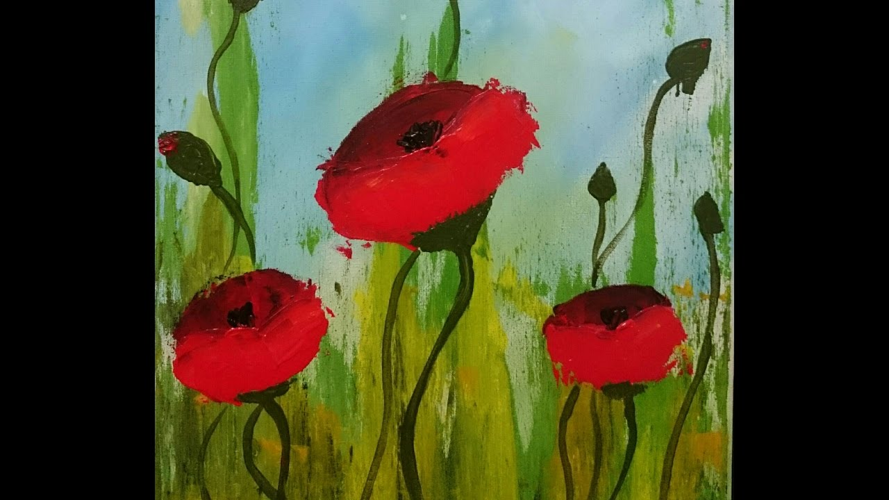 Impressionist Painting Of Poppies Acrylic Painting For