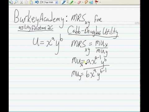 Utility 2C: MRS for cobb douglas utility: The easy way