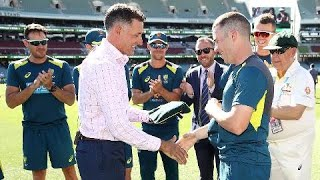 Marcus Harris receives Baggy Green from Mike Hussey
