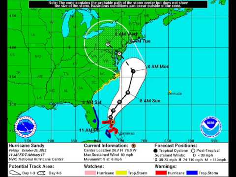 Hurricane Sandy: Track forecasts from the National Hurricane Center