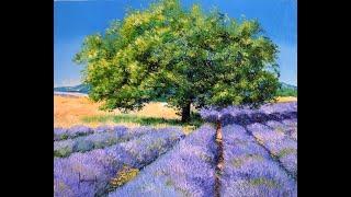 Пейзаж с лавандой. Как написать объёмный, живописный, солнечный пейзаж маслом.