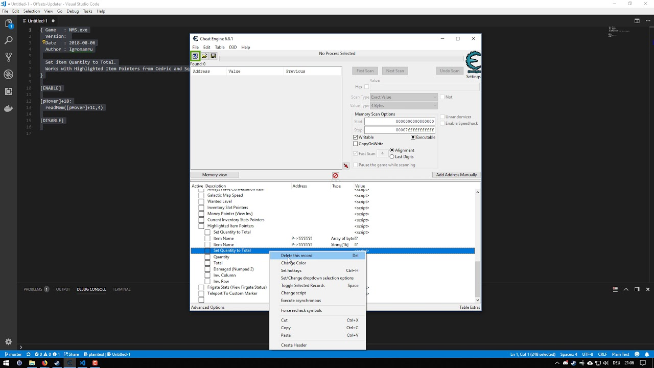 How to copy & paste script to an existing table - Cheat Engine