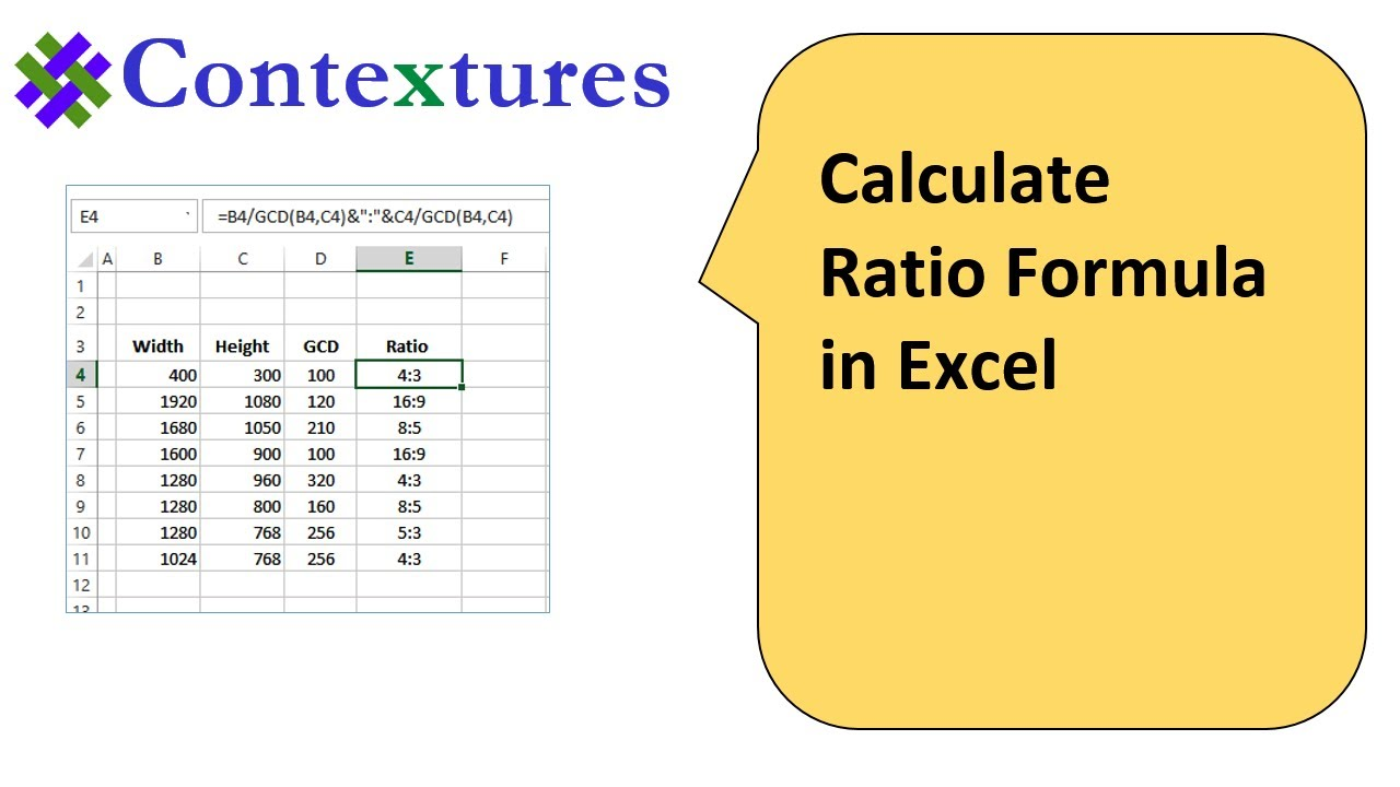Calculate Ratio With Excel Formulas Youtube