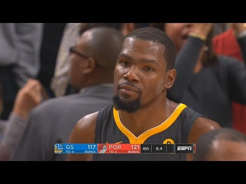 Kevin Durant Makes Amazing Clutch 3 Pointer But Steps Out of Bounds vs Trail Blazers!