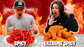 SPICY VS.  EXTREME SPICY FOOD CHALLENGE!