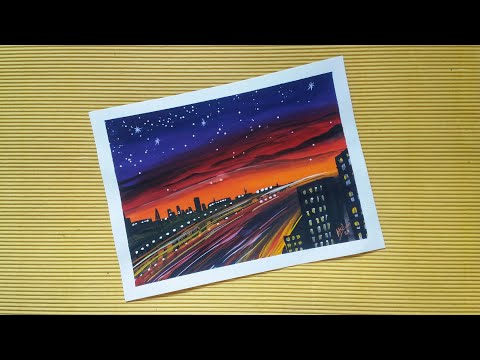 City night landscape  painting for beginners / easy poster colour painting tutorial