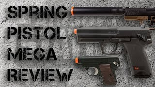 We review 10 Spring-Powered Airsoft Pistols in Under 2 Minutes