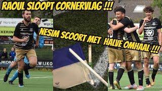 Raoul sloopt corner vlag, Niek scoort en imiteert Bram Krikke. Goal Nesim met halve omhaal.