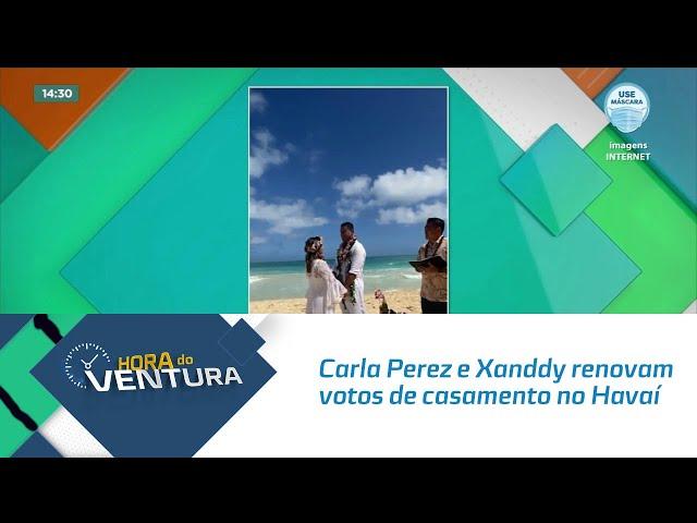 Carla Perez e Xanddy renovam votos de casamento no Havaí